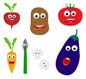 stock photo of tithe  - Cartoon vegetables with different faces isolated on white - JPG