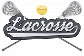 Lacrosse tag with ball and sticks. poster