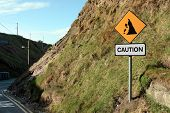 image of landslide  - a landslide sign in county kerry ireland - JPG