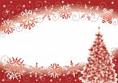 Постер, плакат: Снежинки и Рождественская елка зимой абстрактный фон