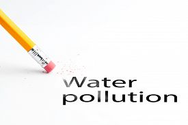 picture of water pollution  - Closeup of pencil eraser and water pollution text - JPG