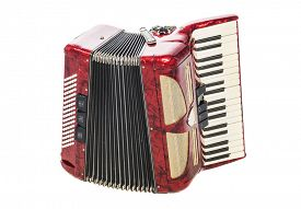 stock photo of accordion  - Old red accordion isolated on a  white background - JPG