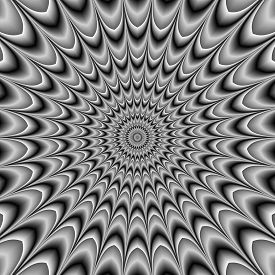 stock photo of hypnotic  - Hypnotic black and white abstract rotating motion background - JPG