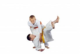 image of judo  - Active athletes in judogi are doing throws judo - JPG