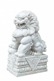 stock photo of lion  - white marble Chinese Imperial Lion Guardian Lion Chinese style sculpture isolate on white background - JPG