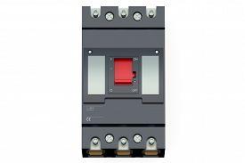 foto of breaker  - Black automatic circuit breaker isolated on white background - JPG