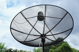 stock photo of antenna  - Satellite dish and TV antennas communication technology network - JPG