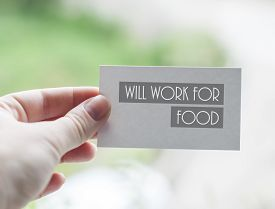 stock photo of scourge  - Visit card of unemployed designer with inscription Will work for food - JPG