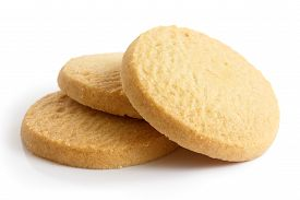 picture of shortbread  - Three round shortbread biscuits isolated on white.
