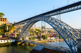 image of dom  - view of Dom Luis I bridge in Porto - JPG