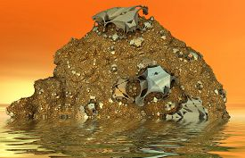 image of magma  - 3D virrtual magma hill with erupted metal particles submerged in water - JPG