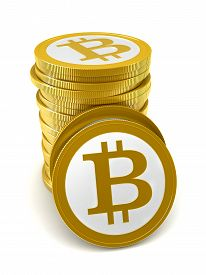 foto of bit coin  - 3d render of abstract bitcoin coins over white background - JPG