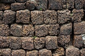 picture of pumice-stone  - stone wall made of volcanic pumice rock for background - JPG