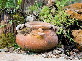 foto of pottery  - Mini garden decoration by pottery jar pottery pitcher - JPG