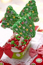 stock photo of crispy rice  - Rice crispy bars decorated for a Christmas - JPG