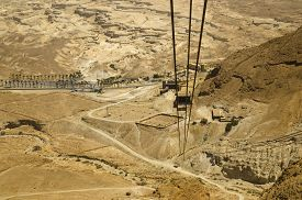 pic of masada  - Cable car track moving down from Masada fortress to Judean desert  - JPG