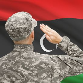 stock photo of libya  - National military forces with flag on background conceptual series  - JPG