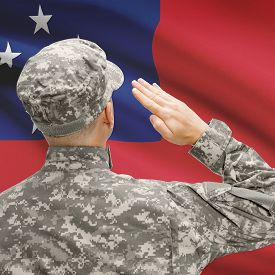 pic of samoa  - National military forces with flag on background conceptual series  - JPG