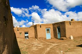pic of pueblo  - Houses in Taos Pueblo in New Mexico - JPG