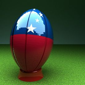 foto of samoa  - Rugby ball with Samoa flag over green grass field 3d render square image - JPG