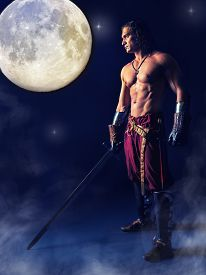 picture of half naked  - half naked medieval warrior with a sword in the mystic background - JPG