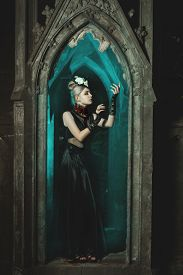 picture of wraith  - Gothic girl standing in the castle - JPG