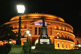 stock photo of kensington  - The Royal Albert Hall at night in Kensington - JPG