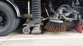 pic of sweeper  - street sweeper machine cleaning the streets in thailand - JPG