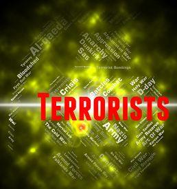 stock photo of terrorist  - Terrorists Word Representing Freedom Fighter And Hijackers - JPG