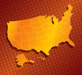 stock photo of usa map  - a stylized monochromatic map of the united states of america - JPG