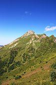image of caucus  - Mountain Aibga of Caucasus ridge in summer day - JPG