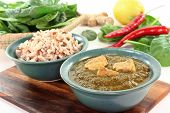 stock photo of paneer  - Indian Palak Paneer with rice and fresh ingredients - JPG