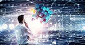 Innovative technologies integration. Mixed media . Mixed media poster
