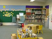 pic of book-shelf  - kids area in a library.