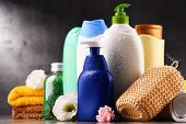 Plastic Bottles Of Body Care And Beauty Products poster