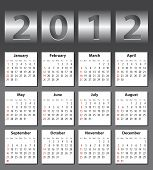 stock photo of august calendar  - Stylish calendar with metallic drum effect for 2012 - JPG