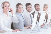 Call Center Workers In Office poster