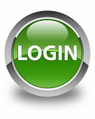 Login Glossy Soft Green Round Button poster