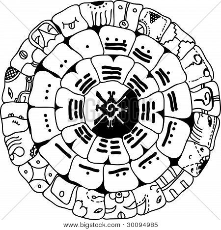 Picture or Photo of Vector Maya symbol  Esoteric black symbol on a    Mayan Symbols Vector