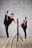 Happy Woman And Little Girl Study In Classroom. Teacher And Teacher In The Dance Class. Individual S poster