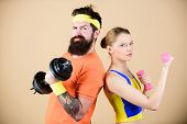 Fitness Exercises With Dumbbells. Workout With Dumbbells. Girl And Guy Hold Dumbbells. Fitness Sport poster