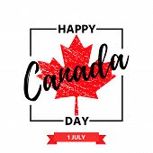 Happy Canada Day. Vector. Canadian National Day Banner With Maple Leaf. Greeting Card, Poster, Backg poster