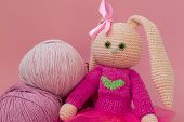 Knitted Pink Rabbit Handmade. Easter Bunny, In A Pink Knitted Sweater And In A Pink Skirt. Sits Amon poster