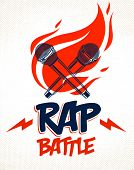 Rap Battle Vector Logo Or Emblem With Two Microphones Crossed And Fire, Hip Hop Hot Rhymes Music Mic poster