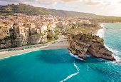 Panorama With Beautiful Italian Town Tropea, In South Of Italy With The Iconic Beach, Old Town And C poster