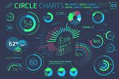 Circle Charts, Pie Charts, Radial Charts And Gauge Charts Infographic Elements poster