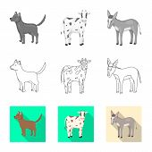 Vector Illustration Of Breeding And Kitchen  Logo. Collection Of Breeding And Organic  Vector Icon F poster