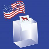 Transparent Ballot Box - A Bulletin With A Donkey, A Political Symbol Of The Democrats - The Us Flag poster