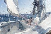 Sailing Yacht Catamaran Sailing In Rough Sea. Sailboat. Sailing Concept. poster