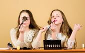 Experts In Cosmetics. Cute Beauty Models Wearing Facial Cosmetics. Little Girls Applying Decorative  poster